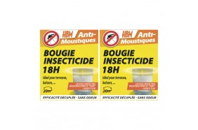 Pack 2 bougies anti-moustiques 18 heures - HBM